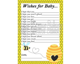 Bumble Bee Baby Shower Game, Bee Theme Baby Shower Game, Mommy to Bee Baby Shower, Wishes for Baby Printable Cards, Bee Theme Baby Wishes