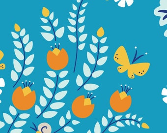 CLEARANCE - Meadow Blossoms Blue - 1/2 Yard - Cloud 9 Fabric - 100% OE100 certified organic cotton