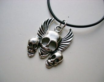 Triple Winged Skull Necklace