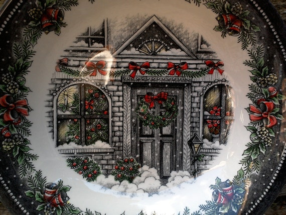 "Large Serving Bowl, Royal Stafford, Burslem, Christmas House Bowl, Serving, 9"", Holiday, English Transferware, See Details Below"