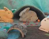 Three Wooden Rabbits // Wood Toy // Easter Gift // Waldorf Toy