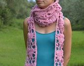 Pink Hearts Scarf Merino Crochet Handmade