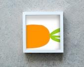 Carrot print, yellow orange vegetable poster, veggie wall art, kitchen decoration, healthy diet, square art print, modern art