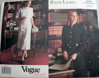 """1990s  Ralph Lauren Pin Tuck Shirt Waist dress sewing pattern Vogue 2497 Size 8-10-12 Bust 31.5-32.5-34""""  UNCUT"""