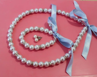 Bridesmaids gift, Flower girl pearl jewelry,  Pearl set