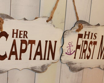 Her CAPTAIN - his FIRST MATE Chair Signs/Anchors/Nautical/Boat/Great Shower Gift/Brown/Lavender/Natical