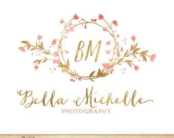 Monogram Premade Logo Watercolor Flower Wreath Design for Photography & Boutique