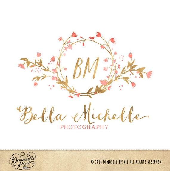Auto photography etsy - Items Similar To Monogram Premade Logo Watercolor Flower