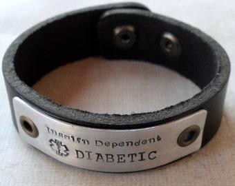 Leather Medical Alert Bracelet Diabetic Medical Bracelet Mens Medical Diabetes bracelet Womens Medical