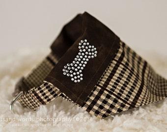 Brown Plaid  reversiable through the collar dog bandana