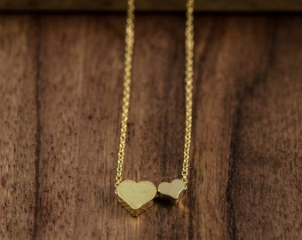 Dainty Two Heart Necklace, Two Tiny Gold Hearts, Delicate Fine Chain, Double Heart Necklace