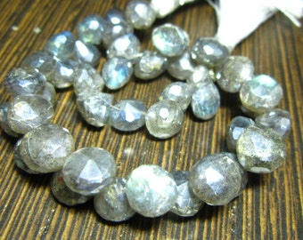 "Mystic Labradorite Faceted Onion Briolettes- 7"" Strand -Stones measure- 7mm"
