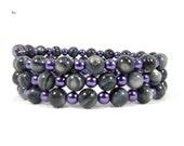 Grey and Purple, Bead Bracelet, Radiant Orchid, Grey Beads, Iridescent Sheen, Royal Purple, GlassPearls, February Birthday, Stocking Stuffer