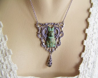 Rabbit Necklace, Bunny Necklace, Verdigris Rabbit, Filigree Necklace, Peter Rabbit, Hare, Cottontail, Easter Bunny