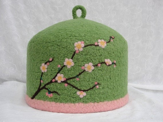 CUSTOM ORDER for Jaime~Felted Tea Cozy with needle felted Cherry Blossom Design