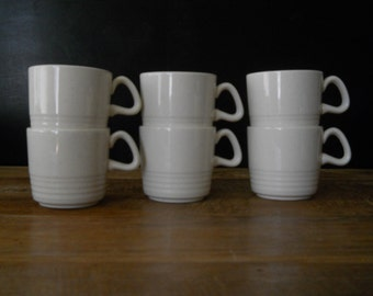 Set of 6 Cream Speckled Homer Laughlin Cups with 4 Saucers and 2 Retro Dessert Plates