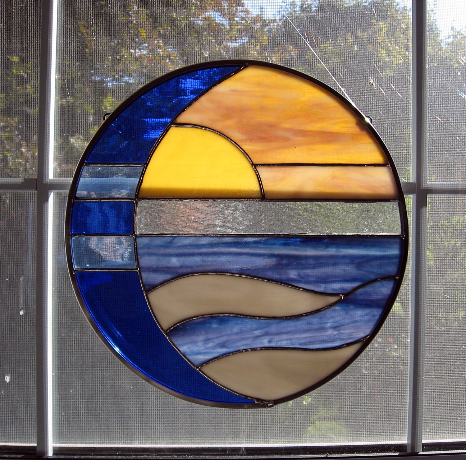 Moon And Sun Over Water Round Stained Glass Panel