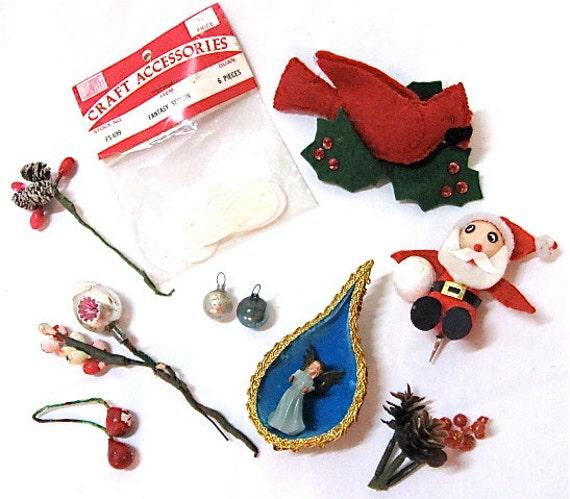 Lot misc vintage christmas craft floral pick supplies from for Vintage christmas craft supplies