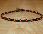 Halloween Necklace - Halloween Jewelry - Orange Necklace Orange Jewelry - Orange Bead Necklace - Beaded Choker - Black Hemp Choker Necklace
