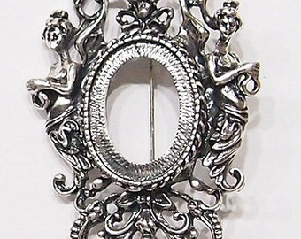 4 of 25x18 mm Antique Silver Old Victorian Style Muse or Graces Brooch Pin and Pendant Settings, for Cameos, Cabs, Glass, Tile