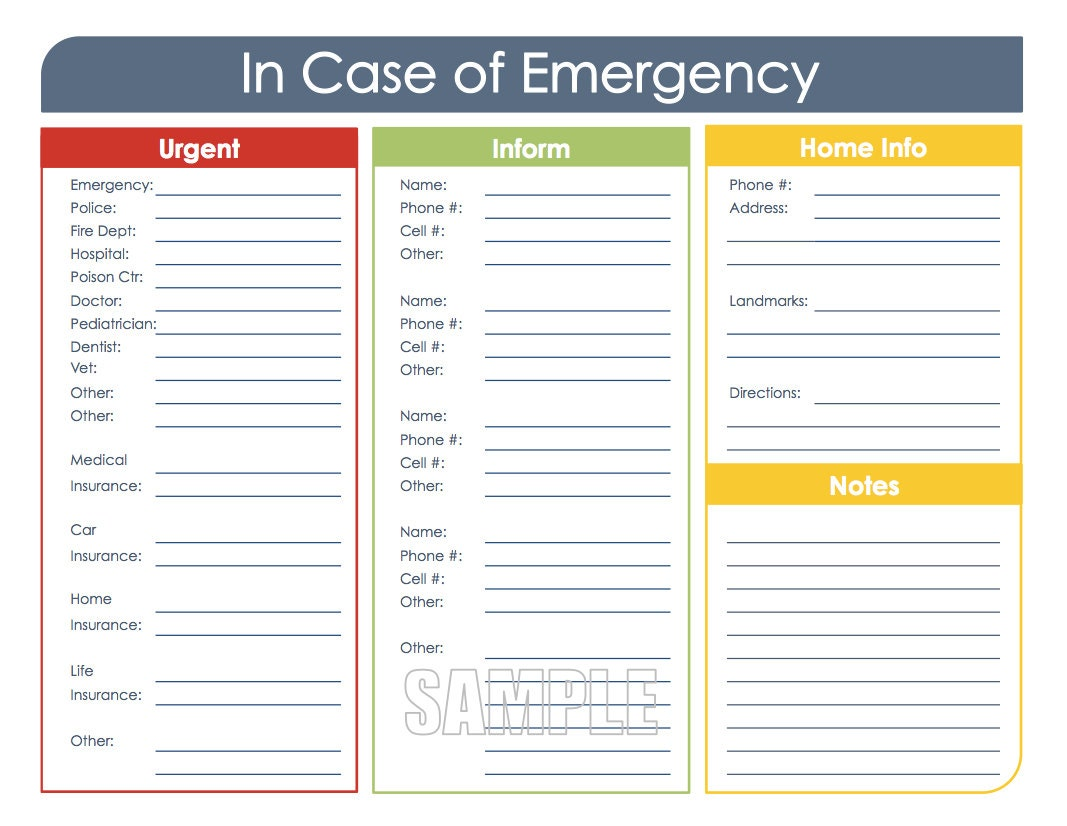 in case of emergency printable organizing pdf instant