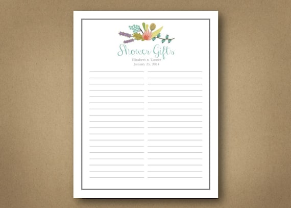 Wedding Shower Gift Record Template : Bridal // Shower // Gift List. Customizable digital download.