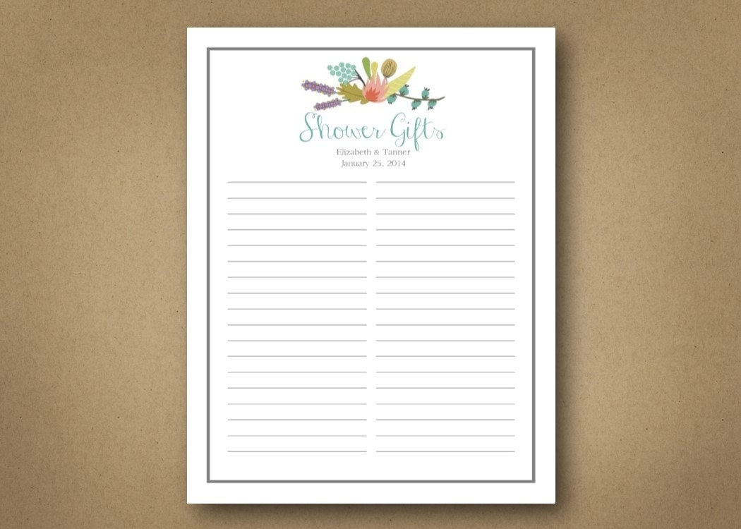 Bridal shower gift list customizable digital download for Wedding shower gift list template