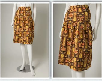 """ORIGINAL VINTAGE 1950s 1960s Brown Orange Yellow Printed Floral Abstract Design Skirt / Small / Waist 27"""""""