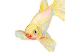 YELLOW GOLDFISH wall art - Watercolor painting, Japanese art, yellow nursery art, fish home decor, yellow watercolor goldfish