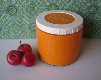 Thermos Insulated Thermo Jar - Orange White - Model 1133  - Vintage 1960's