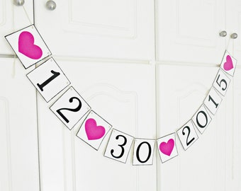 FREE SHIPPING, Save The Date banner, Bridal shower banner, Engagement party, Photo prop, Custom banner, Bachelorette party decor, Hot pink