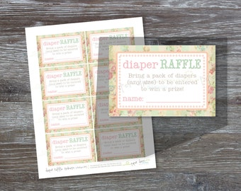 INSTANT DOWNLOAD - Printable Diaper Raffle Tickets, Shabby Chic, Vintage, Baby Shower, Girl, Insert, Game - PDF File, You Print