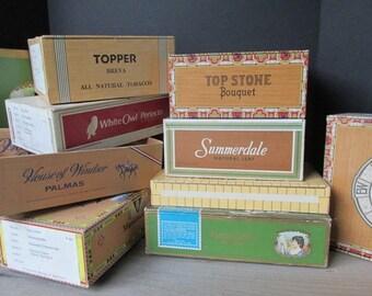 ONE Vintage Cigar Box, Vintage Wedding Decor