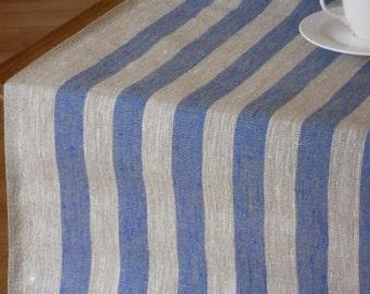 Striped table runner blue light gray natural linen runner wedding table runner