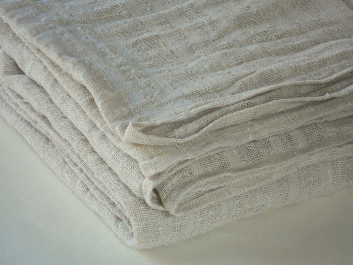 Linen Burlap Tablecloth Cream Washed Wrinkled Rustic By