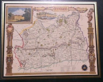 Vintage Repro Map of the County of Surrey by Thomas Moule