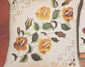 French Country Cottage Linen Pillow Kit, Crewel Hand Embroidery, Bucilla Antique Yellow Roses Pattern