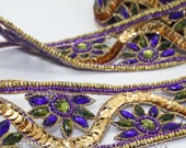 PURPLE GREEN  RHINESTONE  trim, trimming, costume, sequin edging, stones, beads