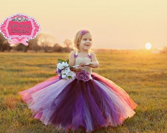 Shades Of Purple- Plum, Purple & Lavender flower girl tutu dress with gorgeous sash and buttlerfly accents, any color available