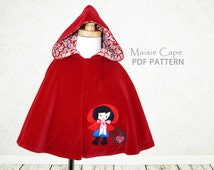 Cape pattern, Girls PDF sewing pattern, costume pattern, girls cape pattern, girls sewing pattern, childrens sewing pattern for kids, MAISIE