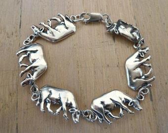Sterling Silver Cow Bracelet