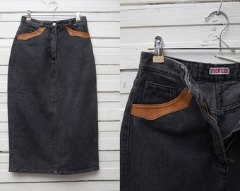 1980's Black Midi Vintage Denim Pencil Skirt / Black Jeans Skirt / Size S Small