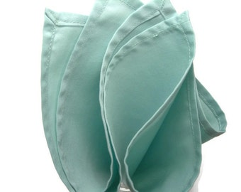 Pastel teal cotton pocket square