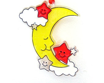 Ornament Smiling Man In Moon1 With Clouds And StarsHandpainted Home Decor