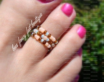 Stacking Toe Ring - Peach - Topaz - Mint - Pattern - Stretch Bead Toe Ring