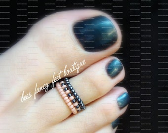 Stacking Toe Rings - Rose - Hematite - Stretch Bead Toe Ring