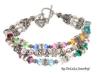 Grandmother Bracelet, Grandmother Jewerly, Grandmother Name Bracelet, Grandma Jewelry, Heirloom Family Jewelry, Name Bracelet, Brag Bracelet