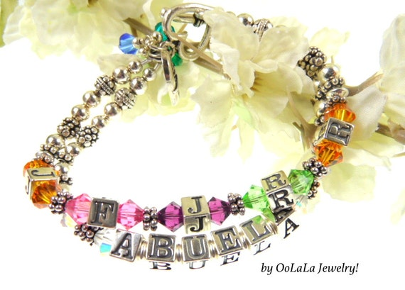 Abuela Bracelet, Abuela Jewelry, Abuela Necklace, Grandmother Jewelry, Grandmother Bracelet, Custom Name Bracelet, Family Jewelry, Heirloom