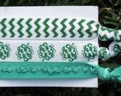 3 Pack St Patricks Day Shamrock Green White Chevron Ruffle Print Hair Ties Pony Tail Holders FOE Bracelet Stretch Elastic