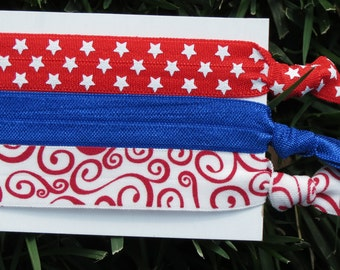 3 Pack 4th of July Red White Blue Stars Swirl Print Hair Ties Pony Tail Holders FOE Bracelet Stretch Elastic